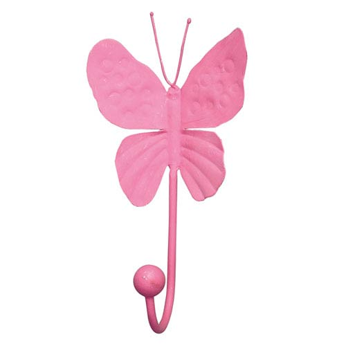 Bright Pink Butterfly Wall Hook