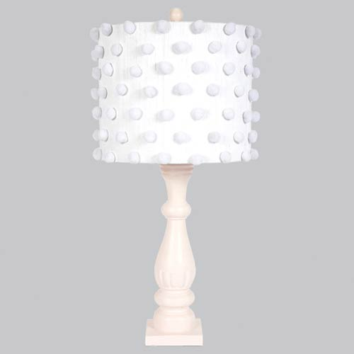 Jubilee Collection Pom Pink One Light Table Lamp with White Pom Pom Drum Shade
