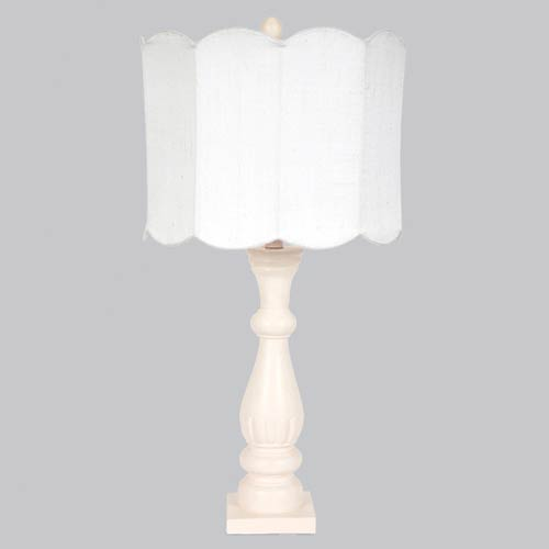 Pink One Light Table Lamp with White Double Scallop Drum Shade