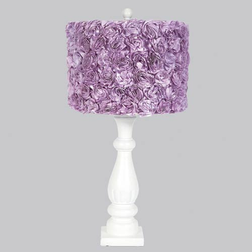 White One Light Table Lamp with Lavender Rose Garden Drum Shade
