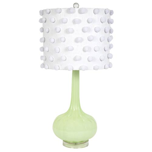 Jubilee Collection Squash Base Green Opaque One Light Table Lamp with White Pom Pom Drum Shade