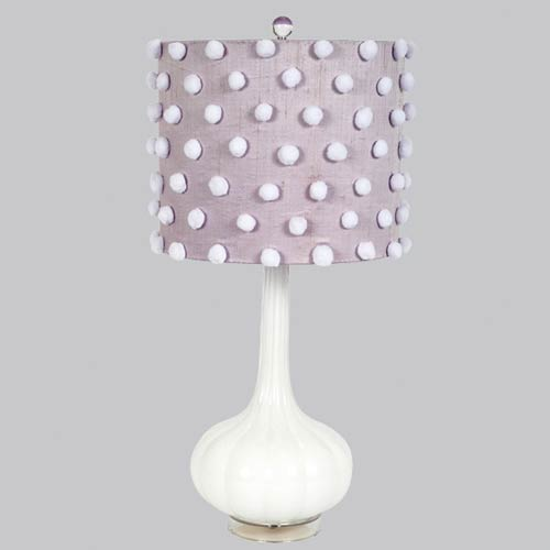 Jubilee Collection Squash Base White Opaque One Light Table Lamp with Lavender Drum Shade