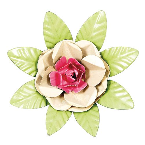 XL Flower Magnet - Tan and Bright Pink Center