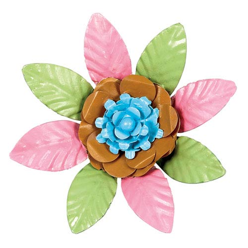 XL Flower Magnet - Turquoise and Gold Center