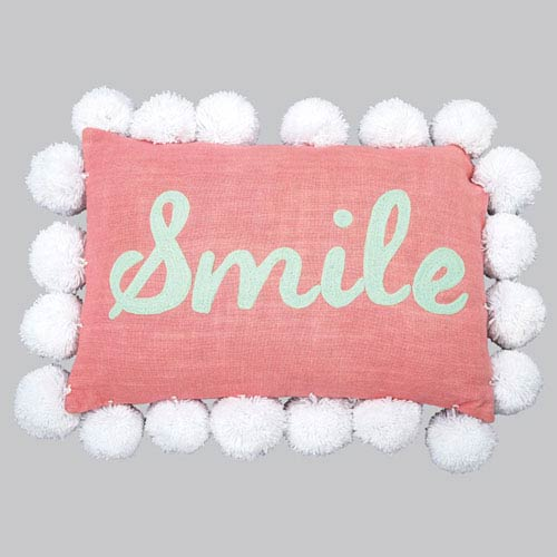 Jubilee Collection Pom Pom Pillow - Smile