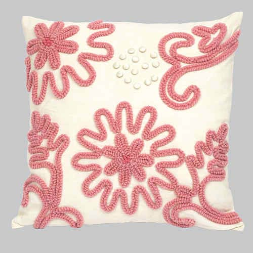 Jubilee Collection Chenille Pink 18 x 18 Decorative Pillow