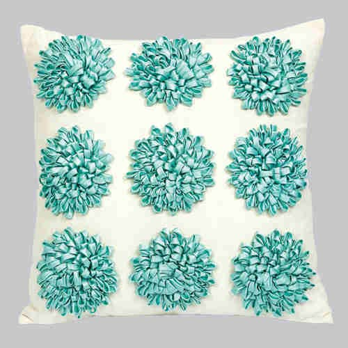 Dahlia Turquoise 18 x 18 Decorative Pillow
