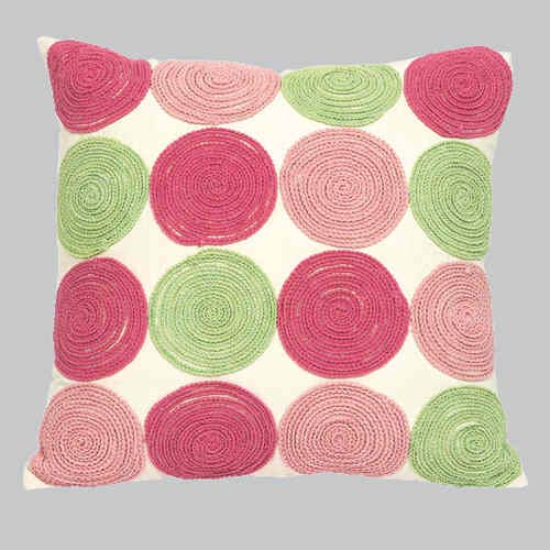 Jubilee Collection Pink and Green 18 x 18 Decorative Pillow
