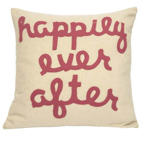 Happily Ever After Pink Letters 20 x 20 Decorative Pillow