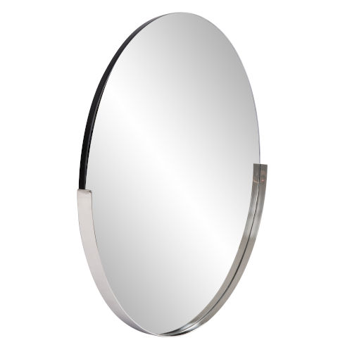 Dante Polished Silver Round Wall Mirror