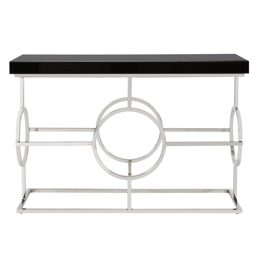 Howard Elliott Collection Stainless Steel Console Table With Black Top