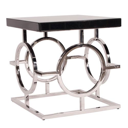 Howard Elliott Collection Stainless Steel End Table With Black Top