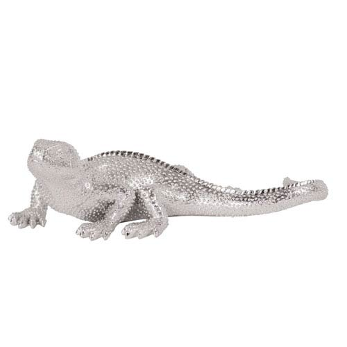 Lizard Bright Nickel Textured Wall Figurine