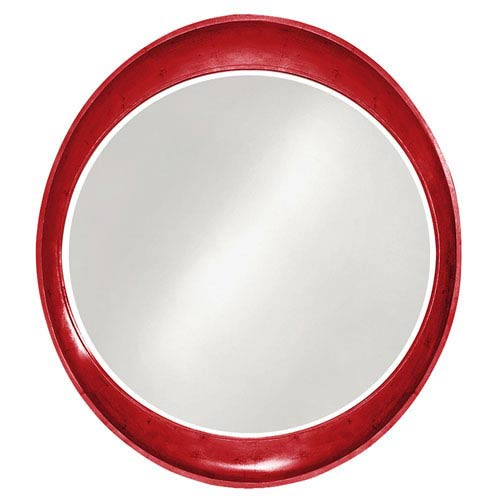 Ellipse Glossy Red Round Mirror