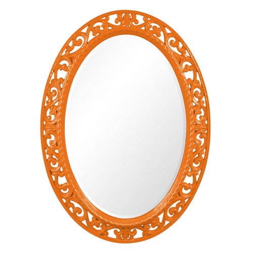 Howard Elliott Collection Suzanne Glossy Orange Oval Mirror