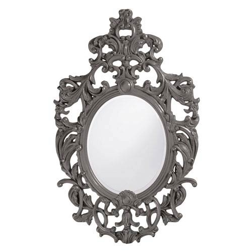 Howard Elliott Collection Dorsiere Charcoal Gray Oval Mirror