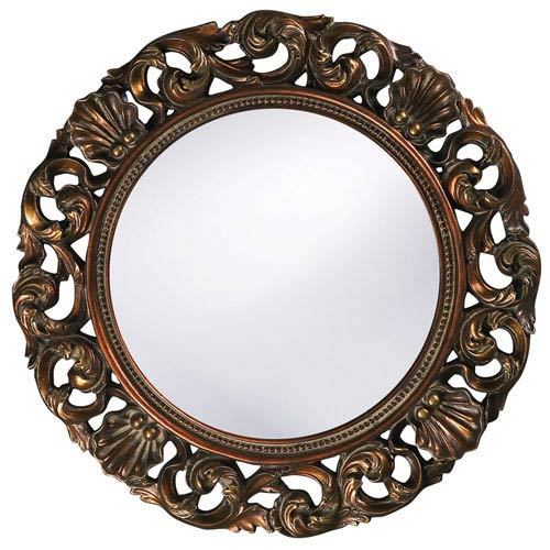 Howard Elliott Collection Glendale Antique Gold Round Mirror