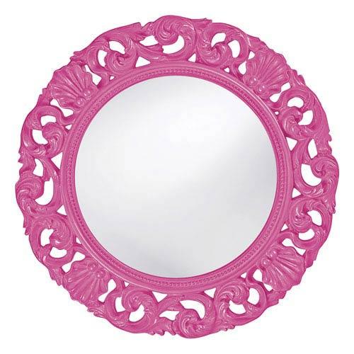 Howard Elliott Collection Glendale Hot Pink Round Mirror