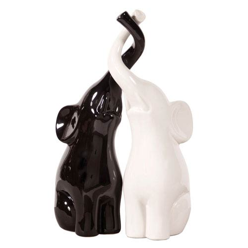 Elephant Love Black and White Sculpture