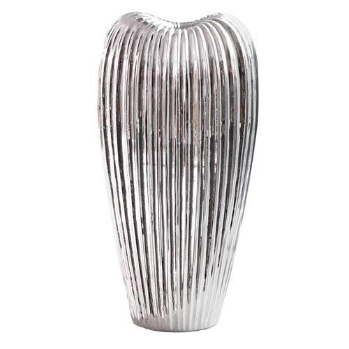 Howard Elliott Collection Ribbed Electroplated Ceramic Vase Medium