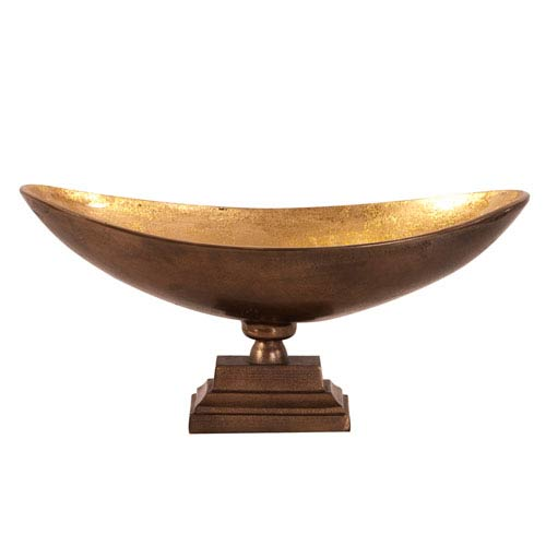 Bronze Footed Bowl with Oblong Gold Luster Inside-Large