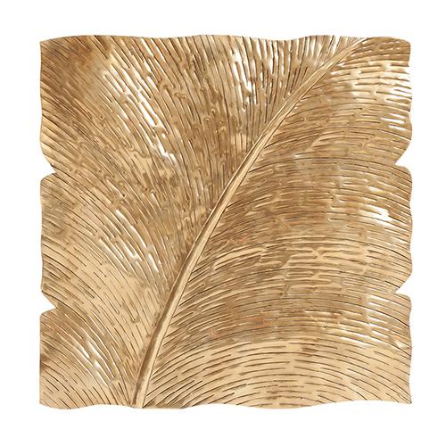 Square Leaf Wall Decor Antique Gold Medium