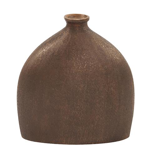 Textured Flask Vase in Dark Copper