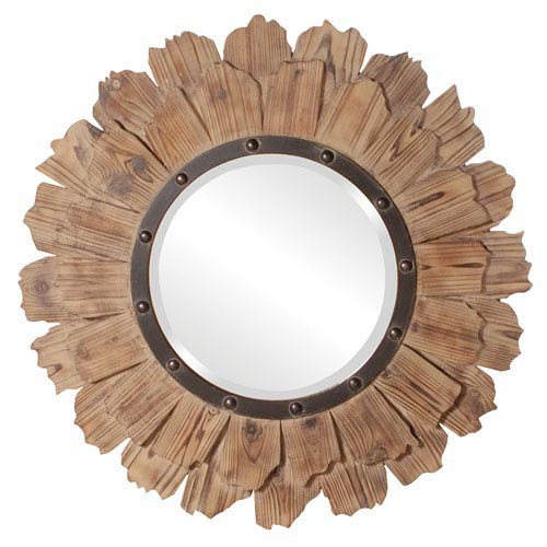 Hawthorne Natural Wood and Black Iron Round Mirror