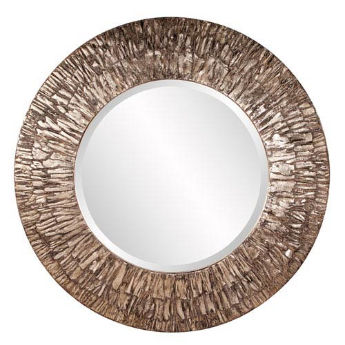 Champagne with Black Accents Linden Round Mirror