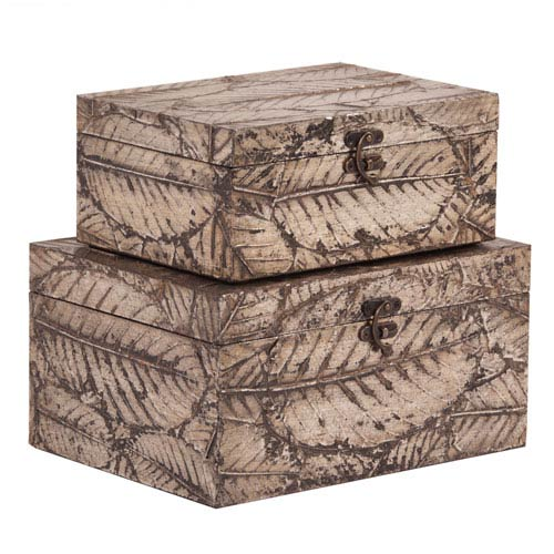 Champagne Leaf Textured Wood Box Set