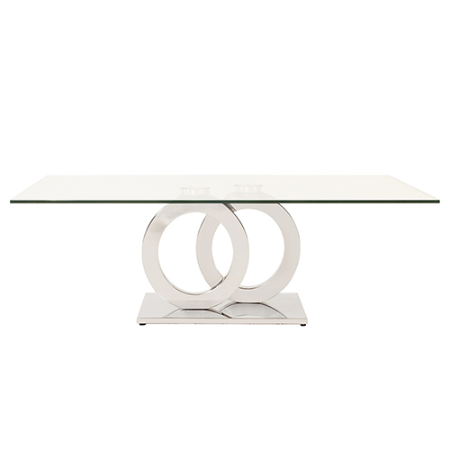 Stainless Steel Coffee Table with Circular Base