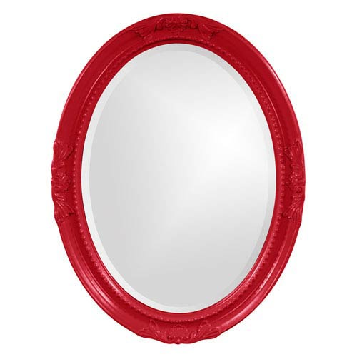 Howard Elliott Collection Queen Ann Red Oval Mirror