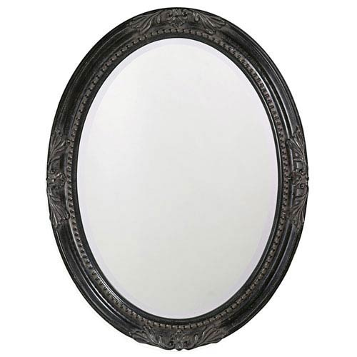 Howard Elliott Collection Queen Ann Antique Black Oval Mirror