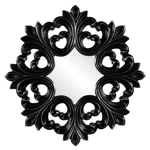 Howard Elliott Collection Annabelle Black Round Baroque Mirror