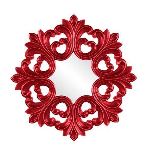 Howard Elliott Collection Annabelle Red Round Baroque Mirror