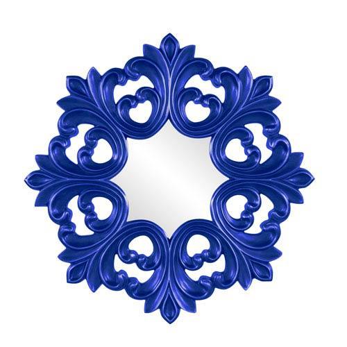 Howard Elliott Collection Annabelle Royal Blue Round Baroque Mirror