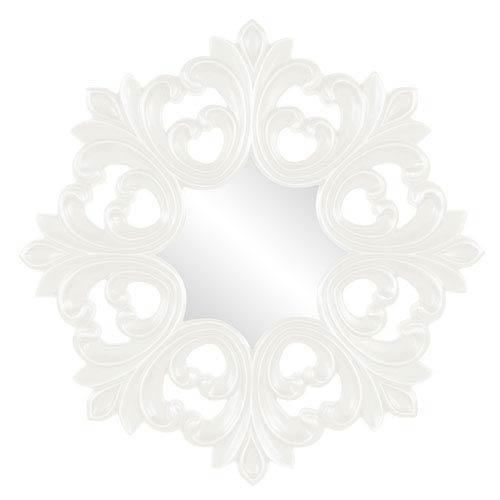 Howard Elliott Collection Annabelle White Round Baroque Mirror