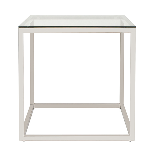 Square Stainless Steel End Table - Clear
