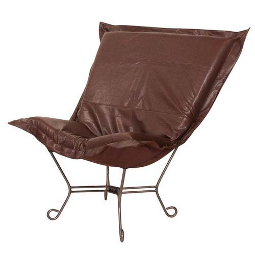 Avanti Pecan 40-Inch Puff Chair with Titanium Frame