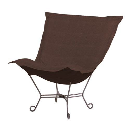 Sterling Chocolate 40-Inch Puff Chair with Titanium Frame
