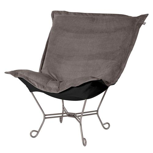 Bella Pewter and Black Puff Chair with Titanium Frame