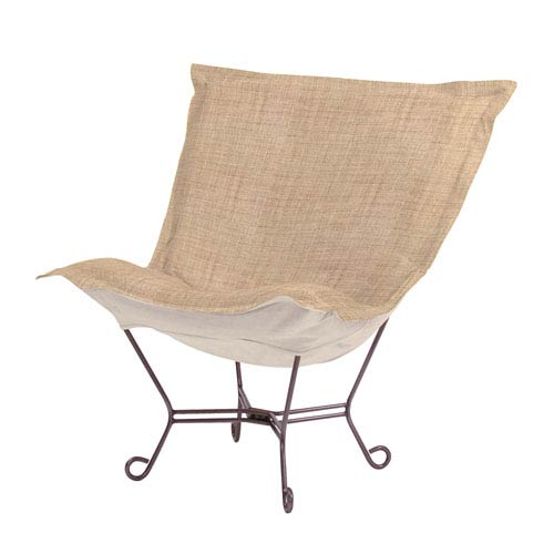 Howard Elliott Collection Coco Stone Puff Chair with Titanium Frame