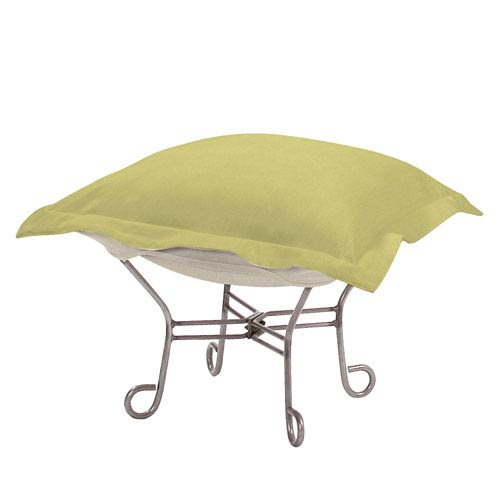 Howard Elliott Collection Sterling Willow Puff Ottoman with Titanium Frame