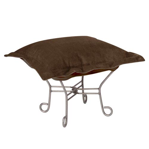 Howard Elliott Collection Bella Chocolate Puff Ottoman with Titanium Frame