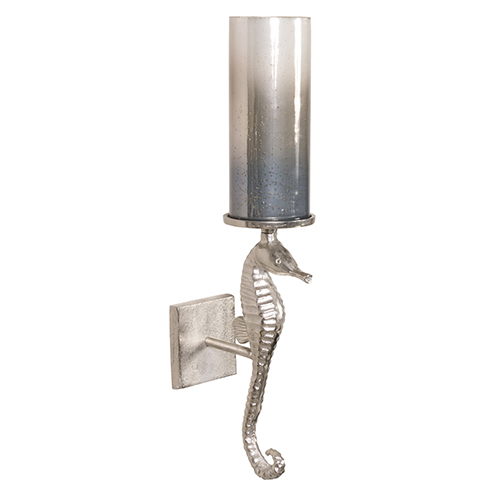 Seahorse Sconce with Pearlized Slate Hurricane
