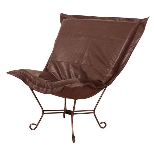 Howard Elliott Collection Avanti Pecan Puff Chair with Titanium Frame