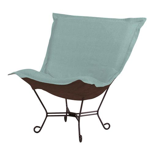 Howard Elliott Collection Sterling Breeze Puff Chair with Titanium Frame