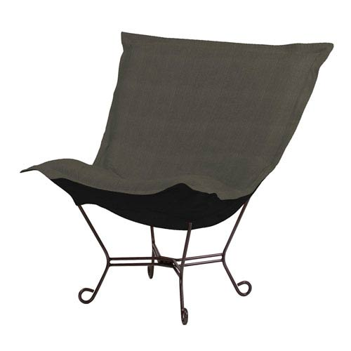 Howard Elliott Collection Sterling Charcoal Puff Chair with Titanium Frame