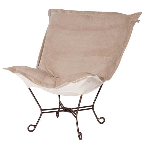 Howard Elliott Collection Bella Sand Natural Puff Chair with Titanium Frame