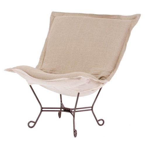 Howard Elliott Collection Microsuede Sandstone Puff Chair with Titanium Frame